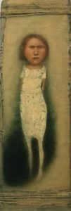 José van Kleef, Staand meisje 2017, olieverf op paneel, 34 x12 cm hxb