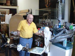 Ocatave Landuyt in zijn atelier, 2005, België