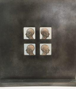 Josep Bofill, Quatro Perfils clonicos, 2003, zinc,raisin, 45,5 x 43,5 cm hxb3