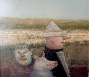 José van Kleef, Trio 1994, olieverf op paneel, 40 x 35 cm