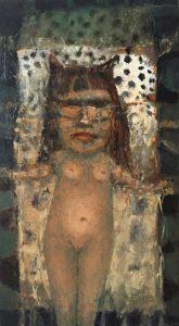 José van Kleef, Godin, 1999, olieverf op paneel, 31,5 x 18 h x b