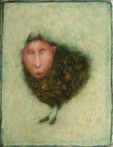 José van Kleef, Beestmensje 2017, olieverf op paneel, 20 x 15 cm
