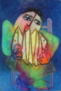 Ripollès- Musico - 2002 -olieverf op linnen 195 x 130 cm
