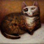 José van Kleef, 'Schildpadkat' (2017) olieverf op paneel, 30 x 35 cm (hxb)