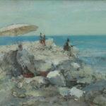 Gerard de Wit - 'Imperia Strand' (1980), olieverf op linnen, 20 x 28 cm