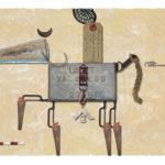 Jero Lenssinck, 'Horse Riding' giclée, oilpastel 63 x 46 cm