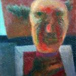 Leo Schatz, 'Spoorwegbeambte' (2005) olieverf op paneel, 60 x 40 cm (hxb)