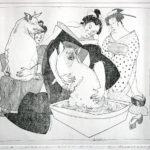 Lia Laimböck, 'Baadsters' (1992) eigen druk/ets, editie 3/10, 20 x 20 cm