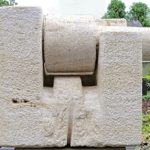 Lika Mutal - 'Secret de la Pierre' (1979) travertine, 72 x 106 cm (hxb)