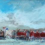 Peter Möbus, Danmark, 'Strandgezicht Eiland' (1997) pastel, 15 x 24 cm (hxb)