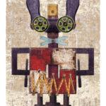 Jero Lenssinck, 'Rabbit with Drums' giclée, oilpastel 46 x 66 cm