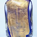 'Volto blu', 2002, murano glas, bladgoud, 27 x 21 cm h x b