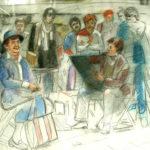 Piet Vermeulen, Voorstudie Centre Pompidou Parijs, 1984, gem.techniek, 50 x 70 cm hxb