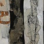 Uschi Klaas, Gute Freunde, gemengde techniek, 135 x 50 cm h x b