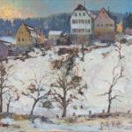 G.A. Morawetz, Berneck - Haüser am Hang, olieverf op linnen, 60 x 73 cm h x b