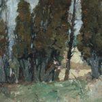G.A. Morawetz, Cyprès à Gigondas, 1962, olieverf op paneel, 50 x 65 cm h x b