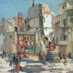 G.A. Morawetz 'Affiches au Place de Voltaire', 1959, olieverf op paneel, 55x46 cm h x b